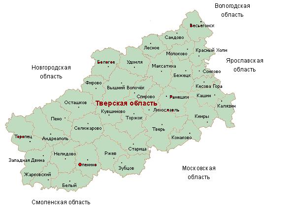 Расположение Тверской области