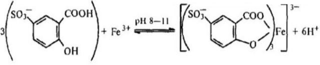 Уравнение химической реакции железа с сульфосалициловой кислотой в щелочной среде